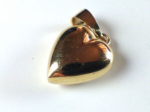 14k Solid Yellow Gold Heart Charm