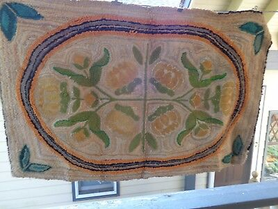 Antique Pennsylvania Floral Pattern Hooked Rug
