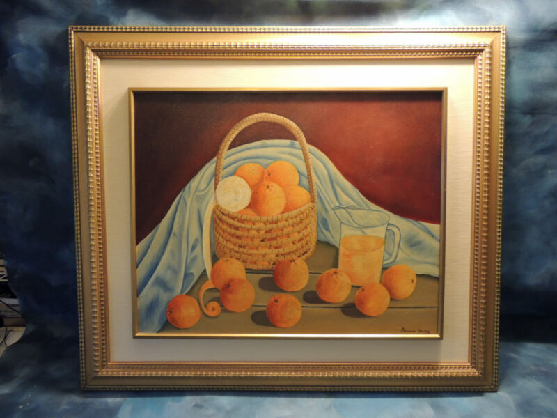 Large Mystery Painting Signed Fernando Of Still Life Oranges - Oil On Canvas