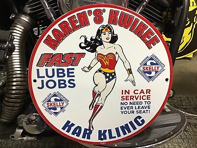 VINTAGE PORCELAIN 1963 SKELLY KAREN'S KWIKKI KAR KLINIC LUBE SIGN Harley Ford