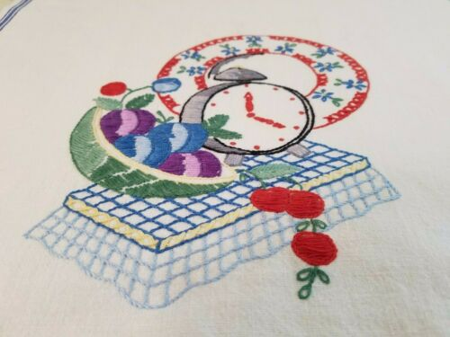 Vintage BLUE White Stripe Embroidered Cotton Kitchen Dish Towel Clock Fruit Bow