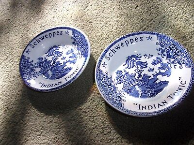 "Pr. K&G Luneville France Schweppes India Tonic Plates 4 3/4"" diamter Blue Willow"