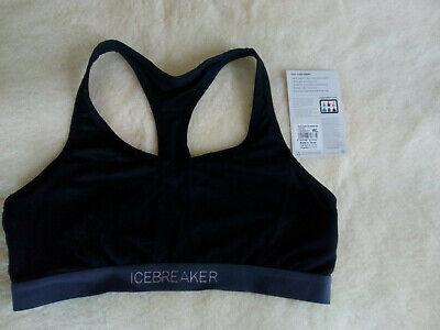 Womens Icebreaker Sprite Racerback Sports Bra. Black/Panther. Large. Used.