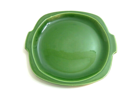 "VINTAGE PADEN CITY POTTERY DARK GREEN 13 1/2"" HANDLED SERVING PLATTER PIE PLATE"