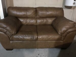 Leather Camel Couch (love Seat)