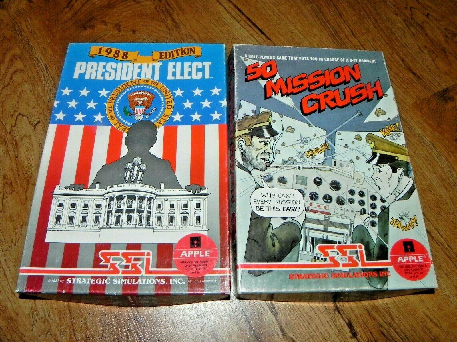 Computer Games - Lot 2 Vintage Apple SSI Computer Games - President Elect / 50 Mission Crunch