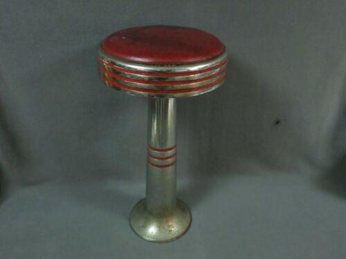 Vintage CAST IRON DINER STOOL Red/Chrome w/Floor Bracket soda shoppe drug store