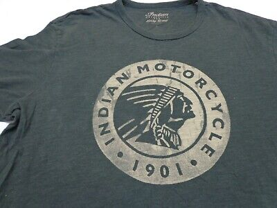 Indian Motorcycle for Lucky Brand Icon Circle Logo T-Shirt- Gray Large Flaws