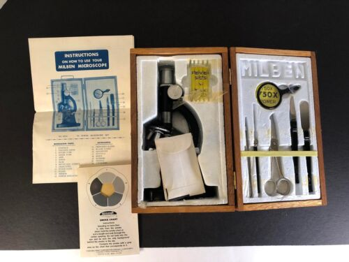 Vintage Milben Microscope with Accessories in Wood Case