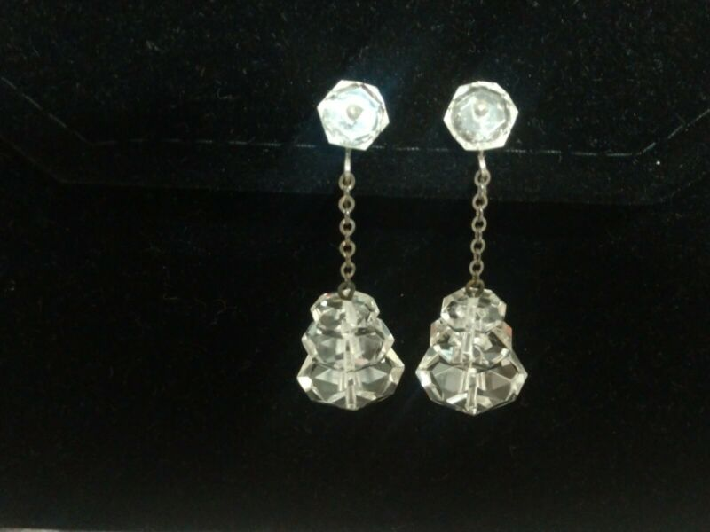 Vintage Art Deco Faceted Rock Crystal Sterling Silver Screw Back Dangle Earrings