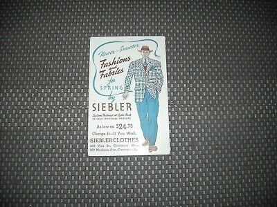SIEBLER MENS FASHION TAILORED 1941 Chrome Advertising 10 Pay Plan Postcard OHIO