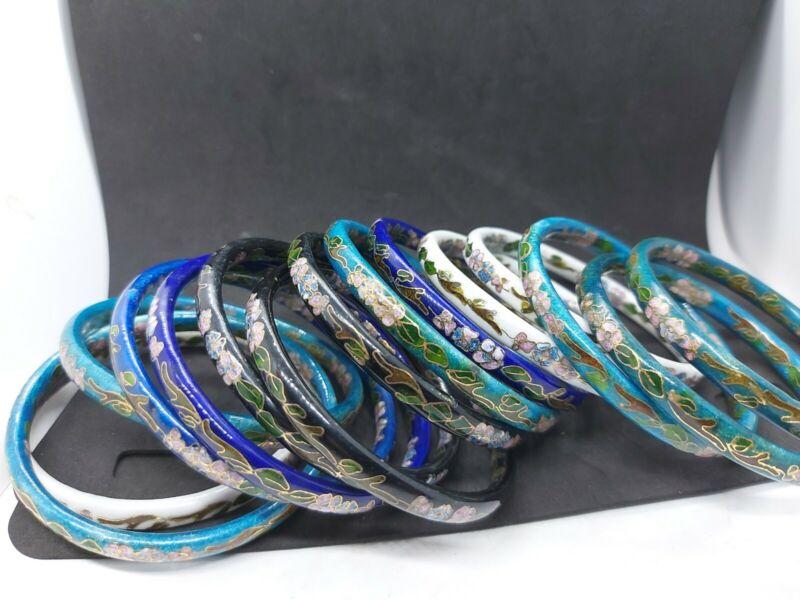 Lot Of 18 Cloissone Enamel Bangle Bracelet Hand Painted On Both Sides Vintage