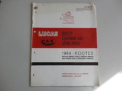 LUCAS Parts List 1964  HILLMAN HUMBER SINGER SUNBEAM COMMER KARRIER Rootes
