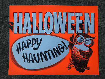 Vintage HALLOWEEN Store Display Posters UNCUT 2pcs OWL Happy Haunting - Haunted Halloween Store