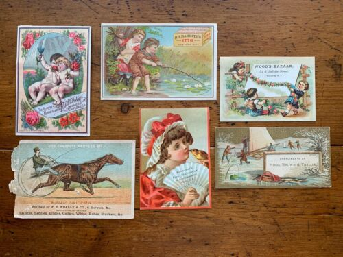 Antique Victorian Trade Card Advertising Lot Of 6 Harness Oil, Soap,Perfume,Toys