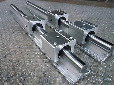 2 X Liner Rail Sbr12-355mm 12 Mm Support Cnc 4 Sbr12uu Block Bearing
