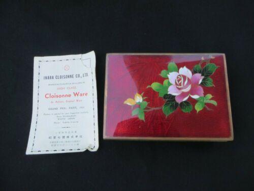 Vintage Japanese Inaba Cloisonne Enameled Cigarette Trinket Box with Flowers