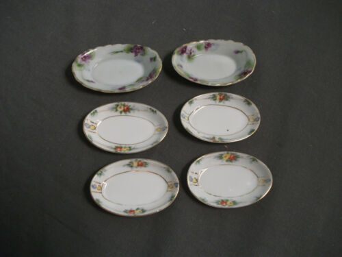 6 VINTAGE PORCELAIN BUTTER PATS - OVAL - HAND PAINTED NIPPON - FLORAL - 10 72