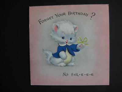 1950s vintage greeting card Hallmark Belated Birthday Kitten w/ String On Finger