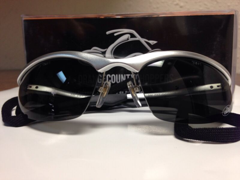 Orange County Choppers Safety Glasses Silver Aluminum Frame Gray Polarized Lens