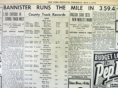 1954 newspaper ROGER BANNISTER becomes 1st MAN to RUN a MILE in UNDER 4 MINUTES