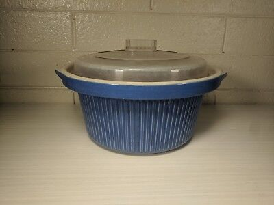 RIVAL Crock Pot Slow Cooker BLUE Replacement Stoneware INSERT Liner w/ Lid