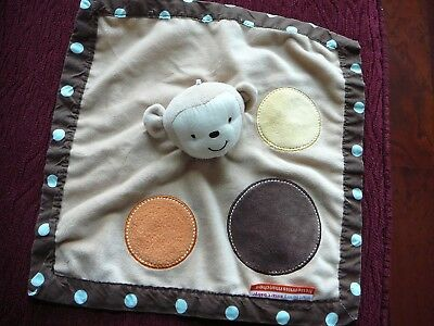 - LITTLE MISS MATCHED Brown Tan Monkey Circles Dots Security Blanket Satin EUC