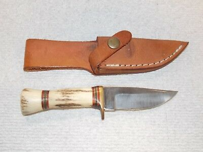 Marbles Custom Surgical Steel Stag Handle Knife/w Leather Holster