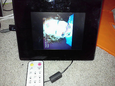 "Used Ultech DPH3080E 8"" Digital Photo Frame Black USB MP3 alarm calendar"