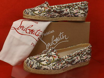 NIB LOUBOUTIN IVORY ARES CANVAS GOLD TONE STUDS SPIKES ESPADRILLES FLATS 41