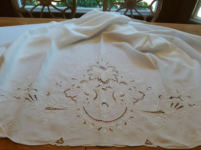 Antique Linen Bed Sheet with Gorgeous Floral Cutwork and Emboidery