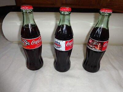 Lot of 3 Collectible 8 oz Sealed Coke Bottles - Tony Stewart, 600 Race & SB 2000