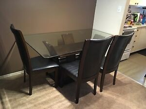 Large glass table + 4 chairs