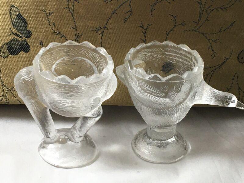 Vintage Clear Glass Figural Stork Crane Heron Bird Egg Cup Pair