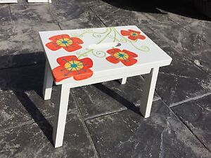 Children's Hand-Painted Mirror and Step Stool Set