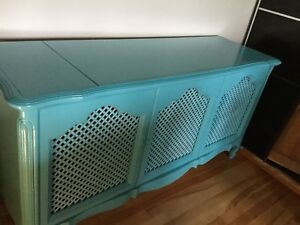 Bright blue entertainment cabinet-