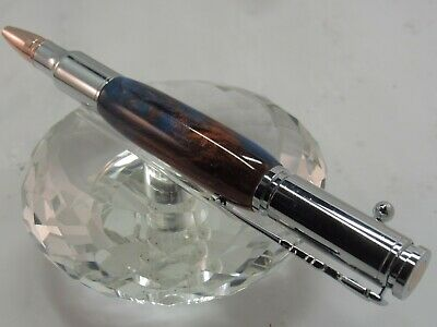 STUNNING BULLET COPPER/BLUE PEARL ACRYLIC BOLT ACTION BALL POINT PEN ROSE GOLD/C