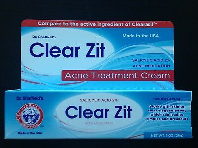 CLEARZIT Dr. Sheffield's ANTI ACNE PIMPLE CREAM 2% Salicylic Acid  FREE SHIPPING