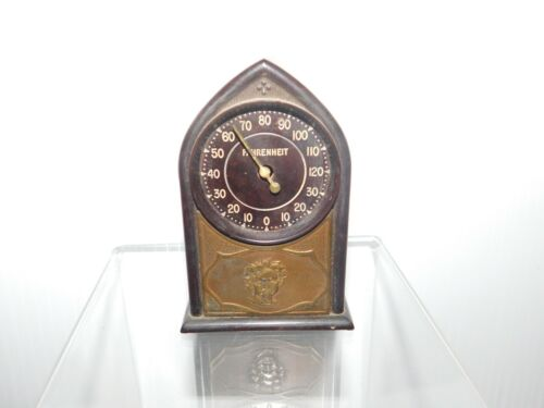 Vintage Small Themometer with Dial Gauge Plastic & Metal Construction Farenheit