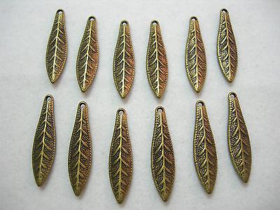 Antiqued Gold plated Leaf Leaves Drops Dangles Earring Findings - 12 Drops Dangles Earring Findings