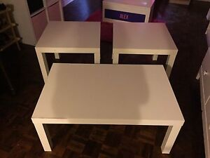 White IKEA coffee table and 2 end tables