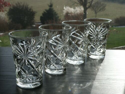 4 Vintage Anchor Hocking EAPC Early American PRESCUT Juice Glasses 8 oz