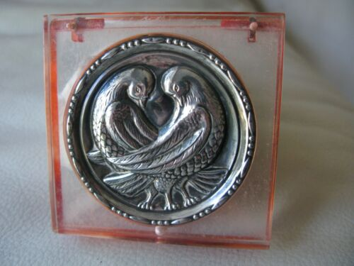 Antique STERLING SILVER Lovebirds Peach Lucite Sifter Powder Compact
