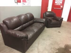 Free Brown Leather Couch and Chair ***pick up only
