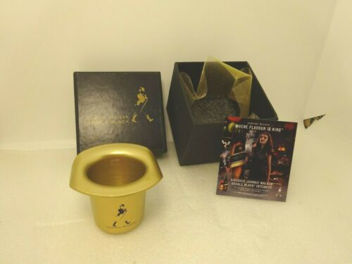 NIB Rare Johnnie Walker Double Black Hat 50ml Metal Shot Measure in Box