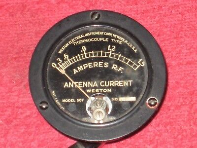 Vintage Antique Weston 507 Antenna Current 0-1.5 Panel Meter Gauge Steampunk