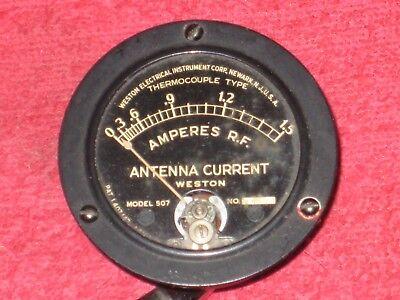 Vintage Antique Weston 507 Antenna Current 0-1.5 Panel Meter Gauge Steampunk