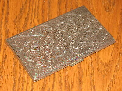 Circa 1900- 184g solid .800 Silver Cigarette case box etched floral vine~ g MARK