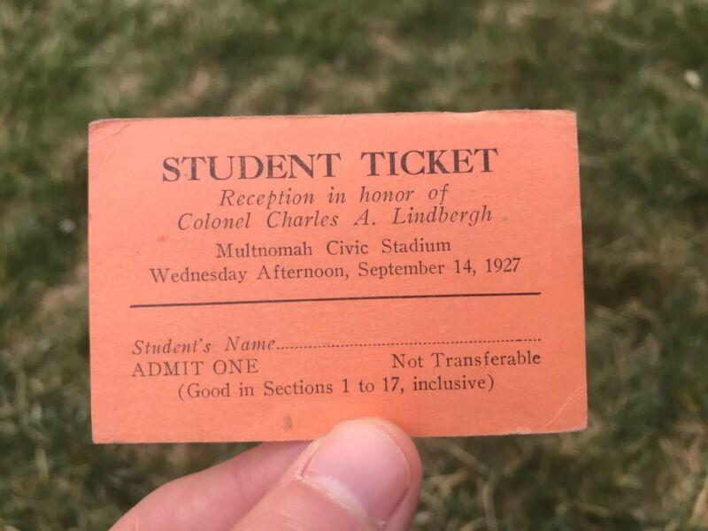 Charles Lindbergh Aviation Banquet Reception Student Ticket Portland Oregon 1927