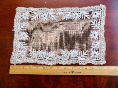 Antique Handmade European Cotton Floral Embroidery Bobbin Lace Placemats Set (8)